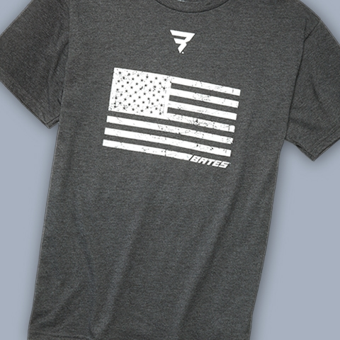 Bates T-shirt with an American Flag on it