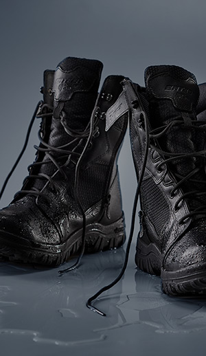 Close up of a pair of Bates boots.