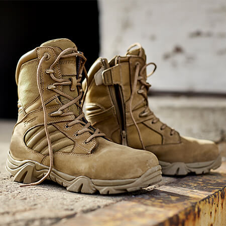 Sandy-colored boot.