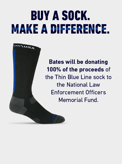 BUY A SOCK. MAKE A DIFFERENCE. | Bates will be donating 100% of the proceeds of the Thin Blue Line sock to the National Law Enforcement Officers Memorial Fund.