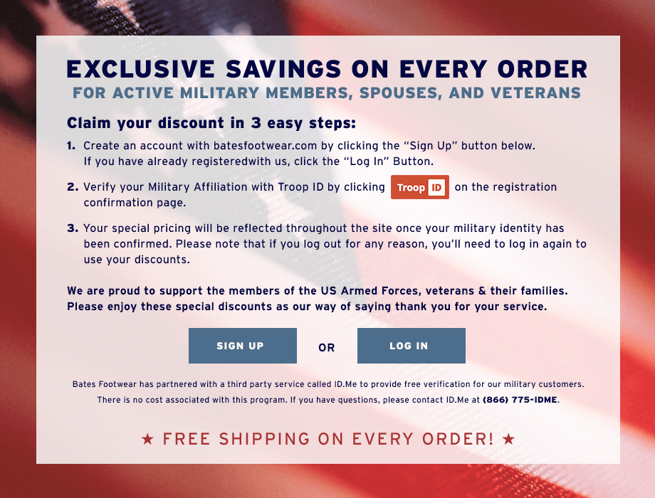 Military discounts with troop ID