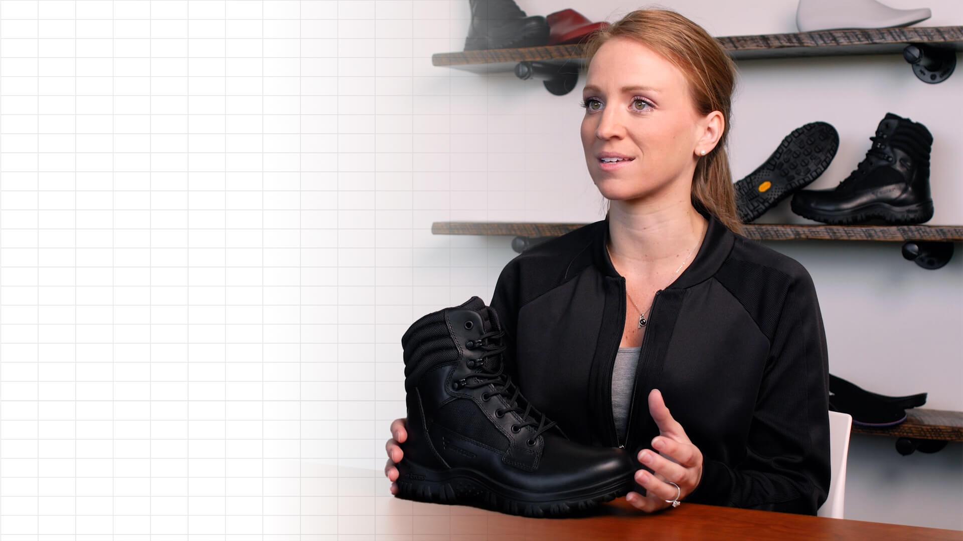 Kristen Wiertzema holding a boot on a counter.
