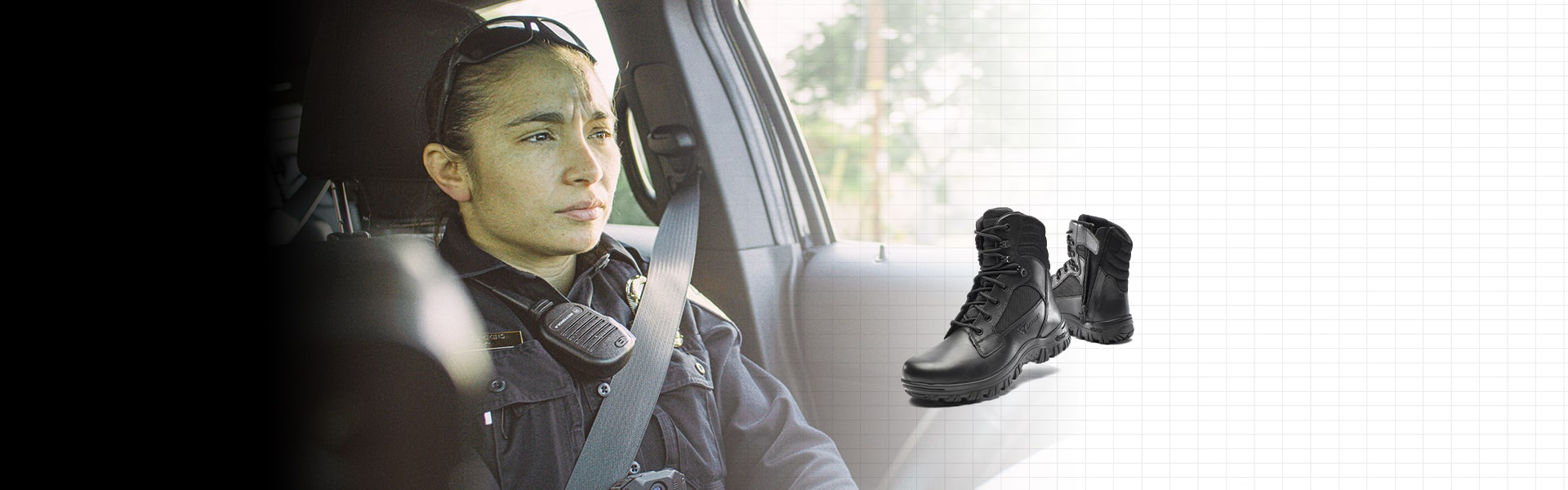 Woman on patrol and a pair of the new Cyren boots.