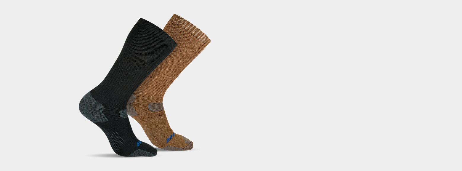 Brown or black over-the-calf socks.