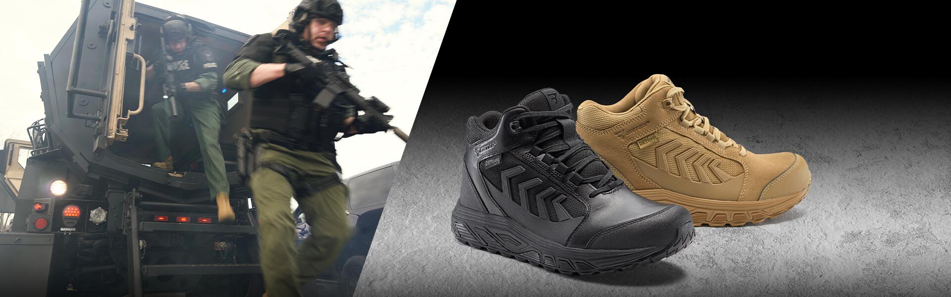 Men with guns wearing the Rush shoe.