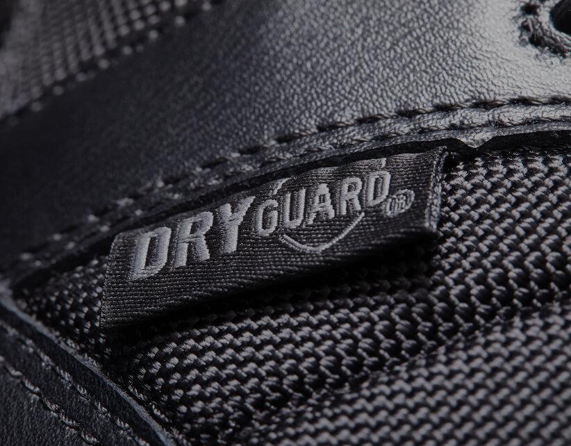 Dryguard logo on a black boot.